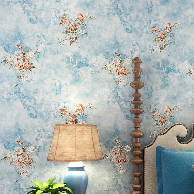 Rustic Floral Wallpaper Roll 3D Non Woven Wall Paper For Walls PinkBlue
