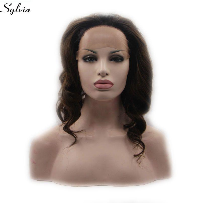 Sylvia Brown couleur mélangée lâche vague perruque synthétique dentelle avant perruques résistant à la chaleur Fiber cheveux pour les femmes