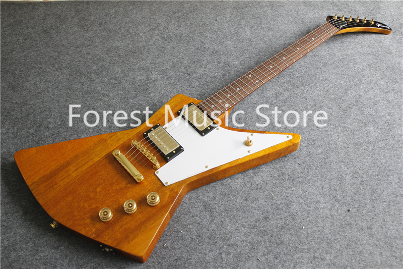 Hot Selling Yellow Finish Explorer Flying V Electric Guitar With Gold Hardware For Sale hardcase for flying v guitar not sold separately