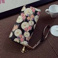 PU Leather Purse  Flora Printing Girl Wallet