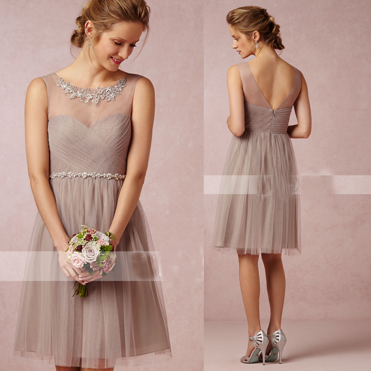 e975ec46103 Light Pink Purple Grey Gray Ivory White Knee Length Short Tulle Bridesmaid  Dresses-in Bridesmaid Dresses from Weddings   Events on Aliexpress.com