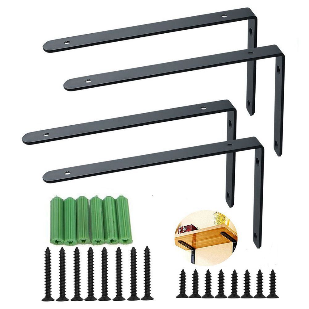 4 PCS Stainless Steel Duty L shape Shelf Bracket Joint for Wall Hanging Bookshelf Support Corner Brace Joint Angle Bracket ned 10pcs 65x65x20mm practical stainless steel corner brackets joint fastening right angle 2 5mm thickened bracket for furniture
