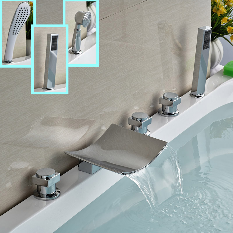 Brass Chrome Square 3 Handles Widespread Tub Filler Deck Mount Waterfall Bathroom Bathtub Mixer Faucet luxury widespread deck mount waterfall bathtub mixer faucet three handles bath tub filler chrome finish