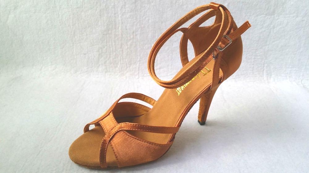 Wanita Baru Tan Satin Ballroom Latin Kasut Tarian Salsa Kasut Tarian Latin Salsa Dancing Shoes