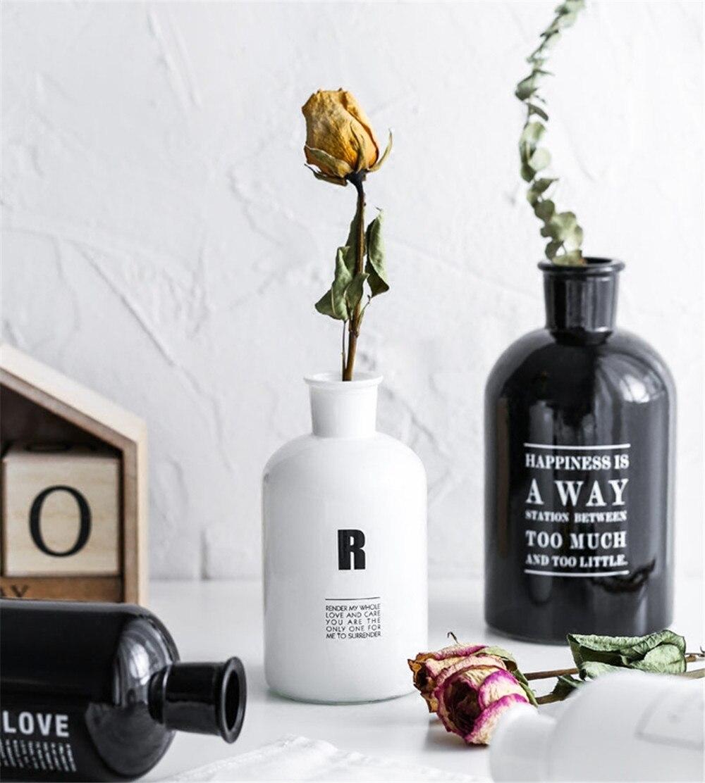 Minimalist Black White Chic Glass Storage Jar Bottle Scandinavian Nordic Desk Storage Bottle Organizer Flower Container Decor