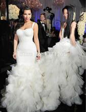 Роскошное Свадебное платье русалки 2017 с кружевными оборками