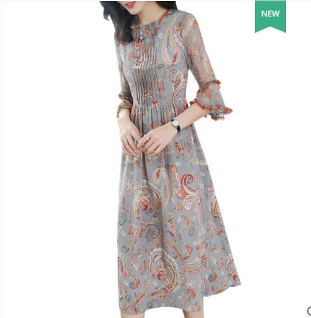 Francês do vintage imprimiu o vestido de seda amoreira primavera/verão 2019 roupa nova fêmea magro temperamento vestido de seda longo