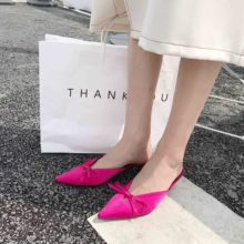 Liren 2019 Summer Fashion Woman PU Spike Heels Sandals Pointed Shallow Mouth Bow High Ladies Shoes Size 35-39