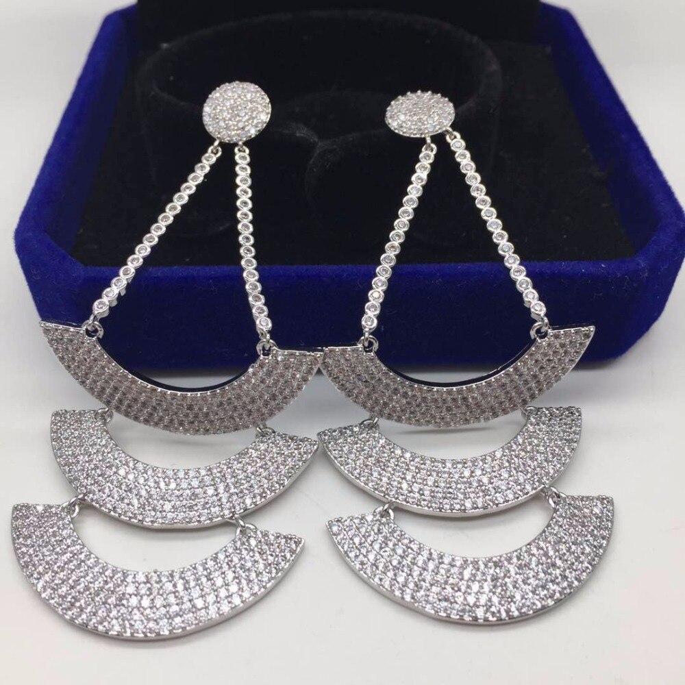 Voilier en forme de luxe complet cubique zircone pierre 3 couches Long lourd Dangle boucles d'oreilles pour femmes bijoux Brincos accessoires de fête