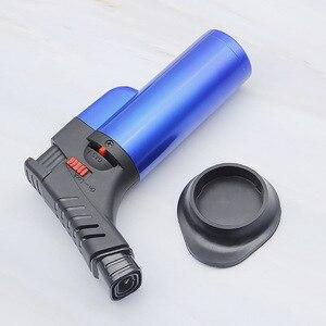 Image 5 - 바베큐 용접 토치 터보 라이터 제트 휴대용 스프레이 건 두 노즐 화재 windproof 시가 파이프 가스 라이터 1300 c 부탄 주방