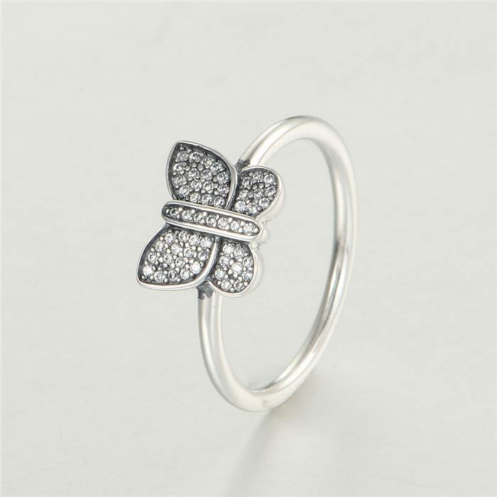 New Crystal Butterfly Ring 925 Sterling Silver Rings For Women Wedding Ring Suitable for Pandora Women Jewelry mariposa en plata anillo