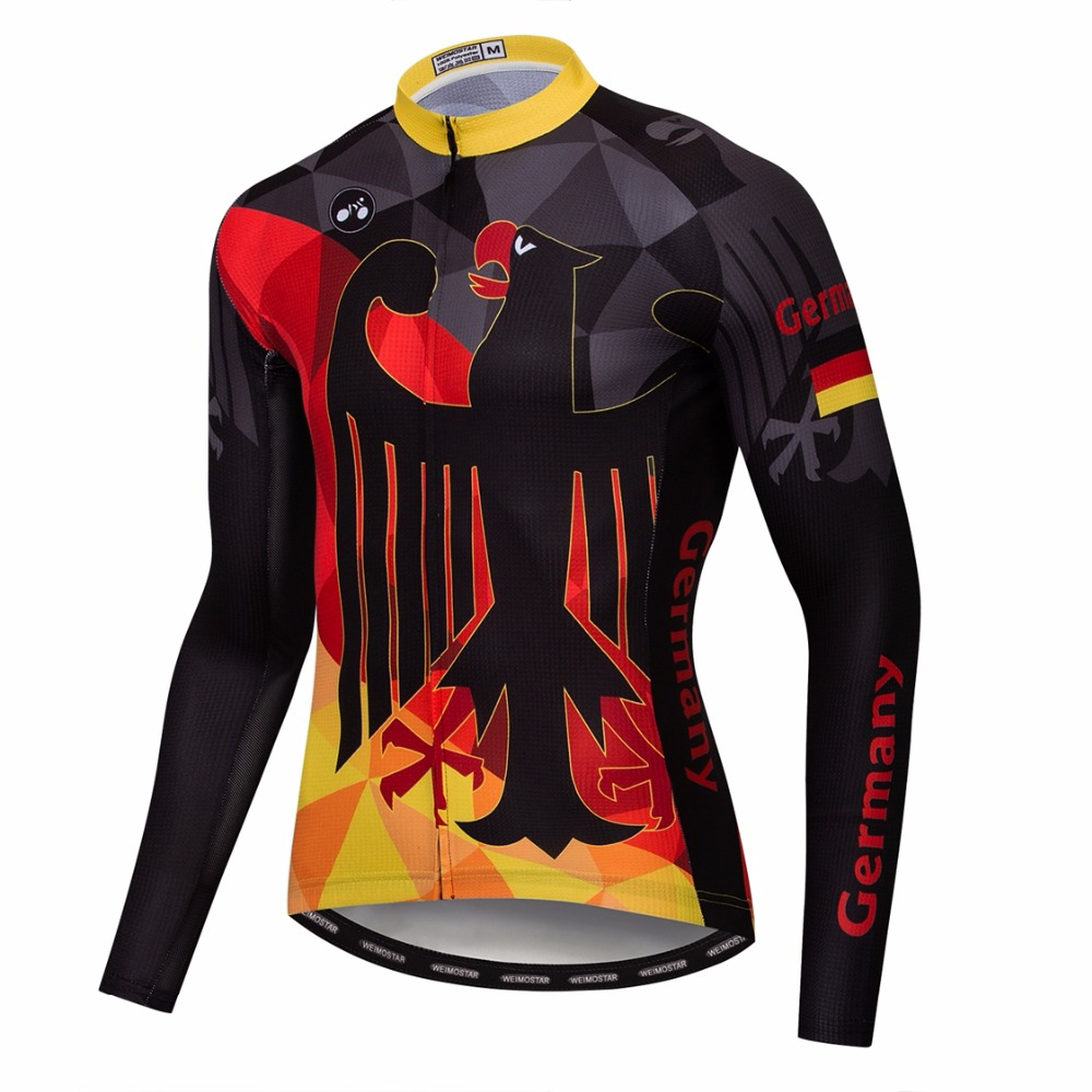 2018 Germany Cycling Long Jersey Men Mountain Bike Jersey Fall Pro Mtb Bicycle Shirts Long Sleeve Team Road Racing Top Black Red