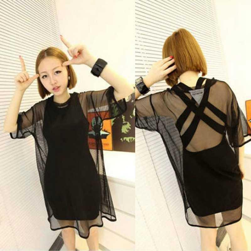 Женские сексуальные однотонные прозрачные сеточные с коротким рукавом футболки оверсайз o-образным вырезом свободная накидка вверх Топы Горячая Новая мода