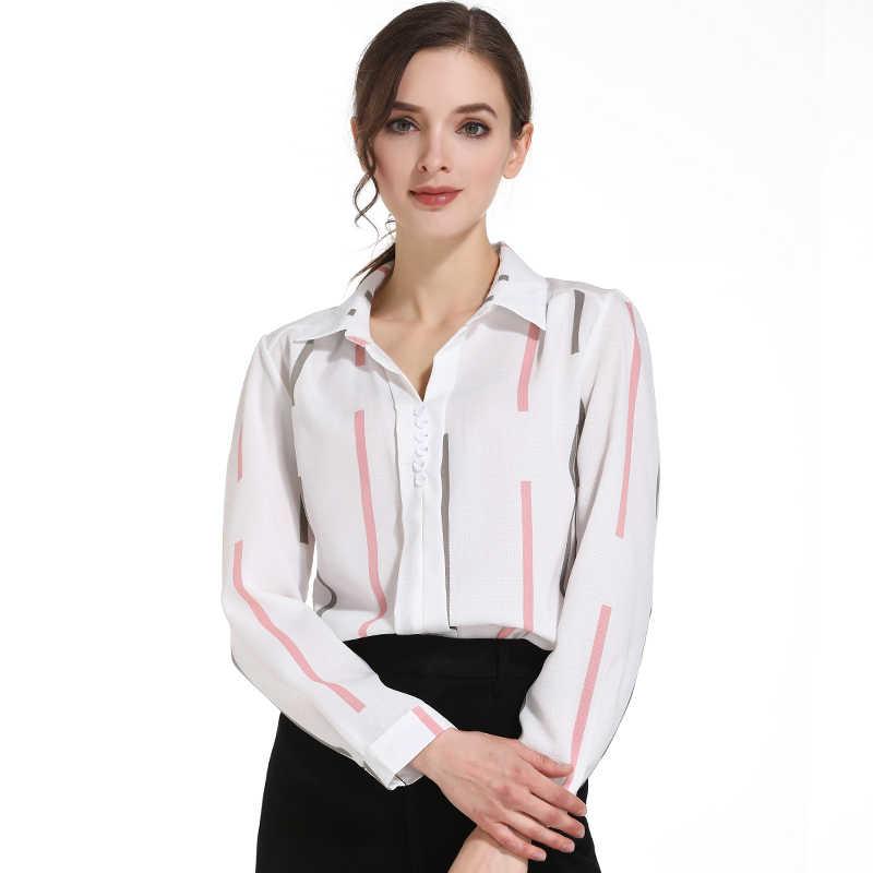 d77539041f1 ... Модные женские блузки 2019 отложной воротник офисная блузка Женская  Полосатая шифоновая блузка рубашка Длинные рукава рубашки ...