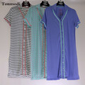 Nightdress Lingerie For Women Modal Cotton Striped Long Section Sleepwear Nightgowns Lounge Sleepshirts