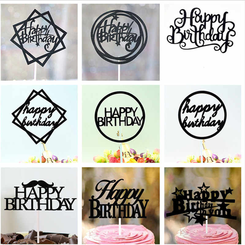 Cake Topper Happy Birthday Baby Shower Cake Toppers Birthday Party Decorations Kids Girl Birthday Cake Decoration Cupcake Topper