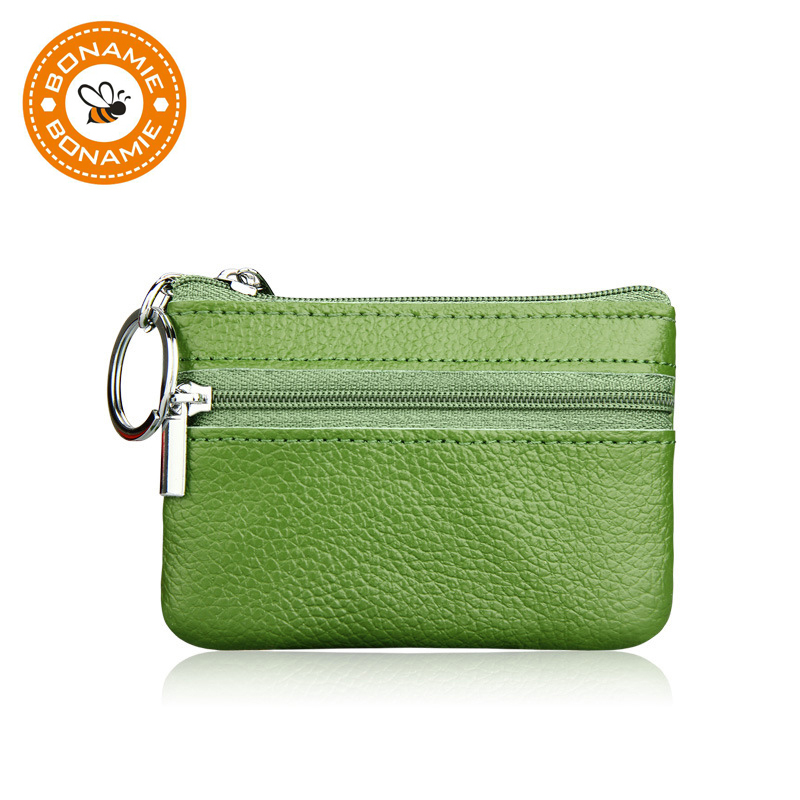 BONAMIE Genuine Leather Coin Purse Women Small Wallet Change Purses Mini Zipper Money Bags Children's Pocket Wallets Key Holder