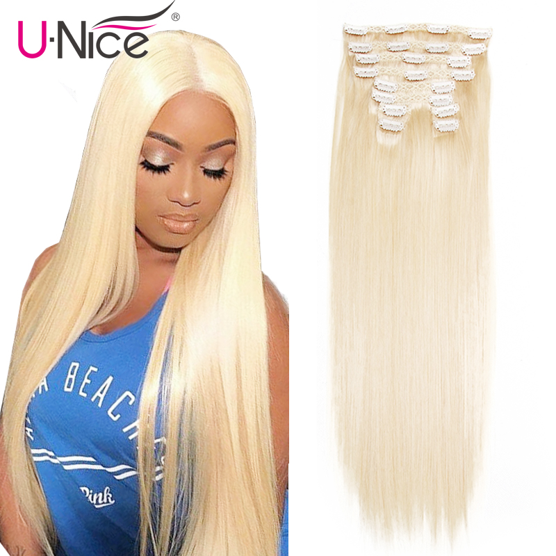 "Unice Hair 7A Brazilian Straight Human Hair Clip In Extensions 120g Clip In Hair Extensions 18"" Clip In Human Hair Extensions(China)"
