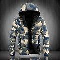 """2015 nuevos modelos masculinos de algodón de camuflaje de invierno hombres """"s de algodón acolchado versión Coreana de los amantes encapuchados chaqueta de la capa marea abrigo"""