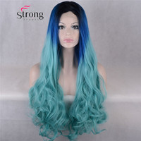 Ombre Blue Black Synthetic Hair Lace Front Wigs For Cosplay Masque Party Women's Long Wavy Glueless Lace Wig 24