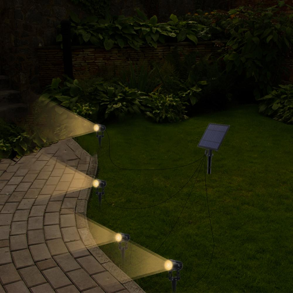 T-SUNRISE 4 PCS LED Solar Light IP65 Waterproof Outdoor Landscape Lamps Auto ON/OFF Solar Wall Lights for Garden Solar Lamp