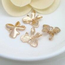 Wholesale Fashion Brass Charms & Pendants 15*15MM Quality Gold color Copper Four-leaf flower 10PCS