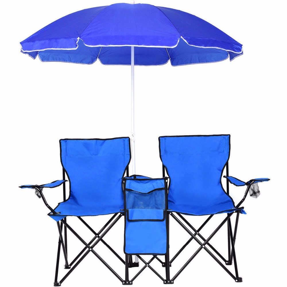 Astonishing Portable Double Folding Chair With Removable Umbrella Canopy Theyellowbook Wood Chair Design Ideas Theyellowbookinfo