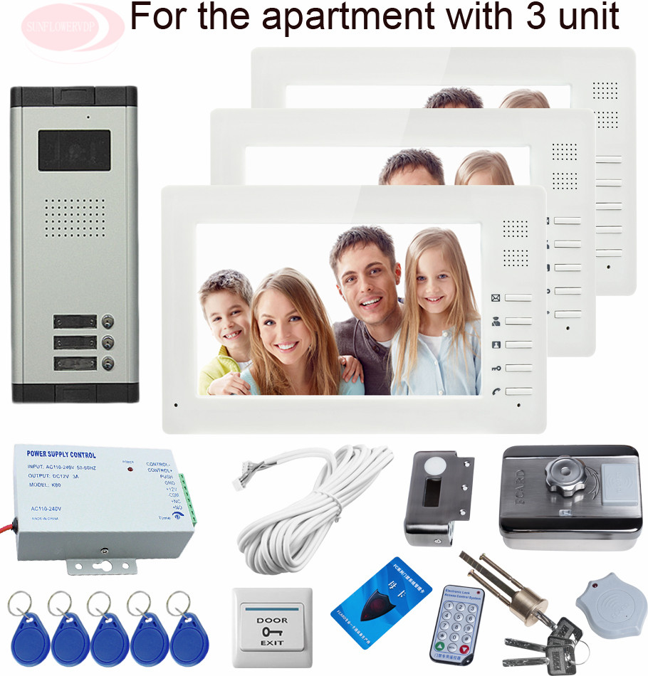 Sunflowervdp Door Phone Wired Intercom For Private House 3 Apartments With Rfid House Security Lock System Unit xeltek private seat tqfp64 ta050 b006 burning test