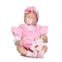 55cm NPK Doll Girl Reborn Baby Short Hair Lifelike Newborn Pink Cloth Vinyl Silicone with Sleeping Basket