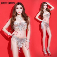 Silver Crystals Bodysuit singer Sparkling sexy DS stage costumes for singers slim performance dress Bar DJ show party stage prom