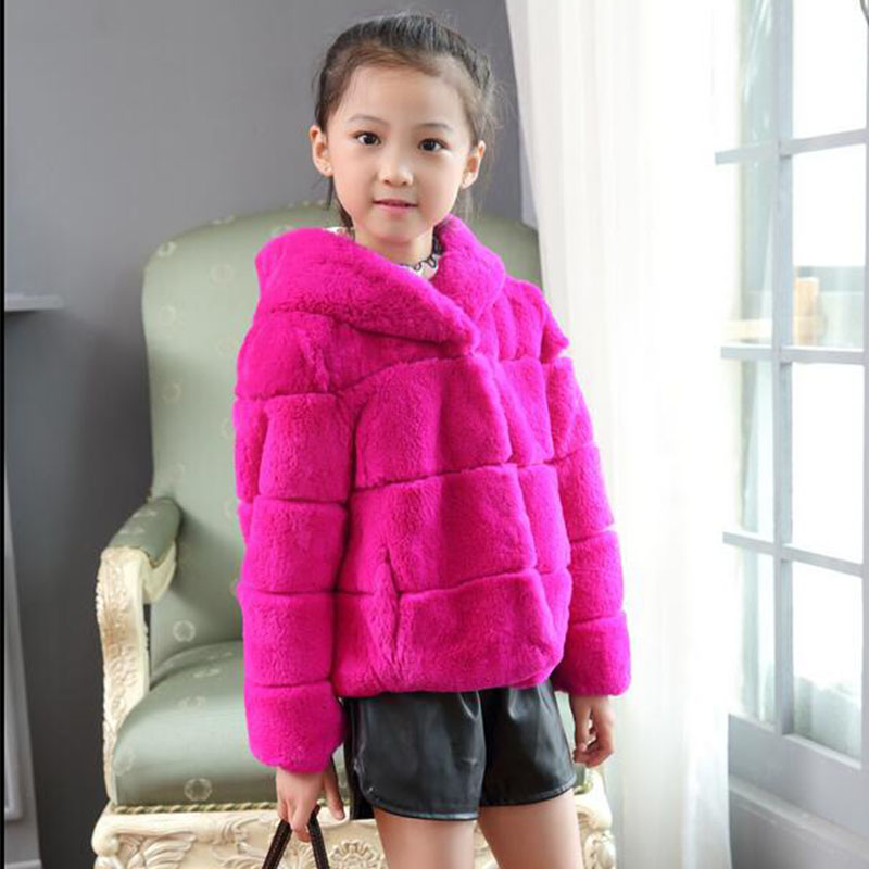 Children Fur Coat Baby's Real Rabbit Fur Coat Winter Warm Thick Short Section Girls Full Solid O-Neck Outerwear Clothing C#04 girl s winter imitation fur coat 2017 girls thick fluff warm coat children baby clothes kid thick plus velvet coat