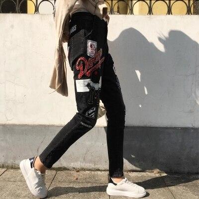 À Motif Filles Mode Rétro De Paillettes Denim Pantalon Élégant Wash Jean Slim La Punk Perles Jeans 182 Femmes qYAPxxwR5S