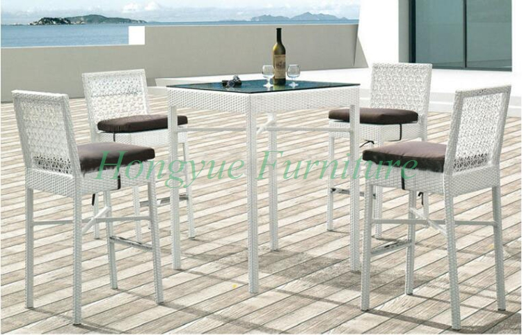 Latest Designs White Rattan Bar Table Chairs Furniture With Cushions(China  (Mainland))