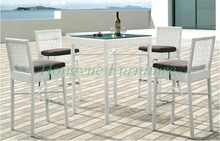 Latest designs white rattan bar table chairs furniture with cushions