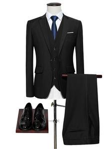 Male Suits Tuxedo Blazers Wedding-Suit Slim-Fit Classic Business Black Formal Luxury