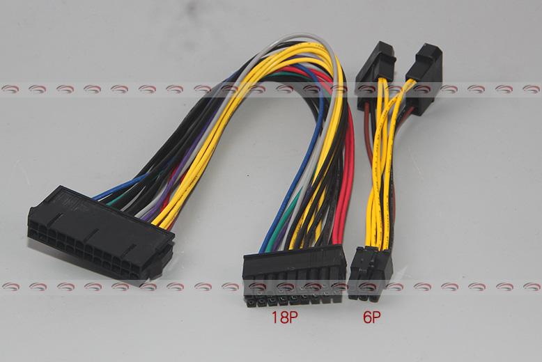 10pcs/lot  ATX 24Pin to 18Pin + Dual IDE Molex to 6Pin Converter Adapter Power Cable Cord for HP Z600 Workstation Server 18AWG atx 24pin to 6pin motherboard 2 port adapter power supply cable cord for hp z220 z230 sff mainboard server workstation 30cm hot