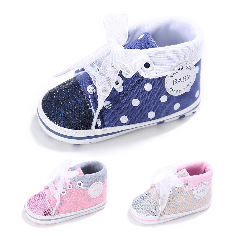 New Fashion sequin Bling Baby Canvas shoes First walkers Baby moccasins Soft bottom Polka Dot Crib Infant Prewalker Baby shoes