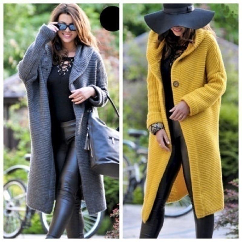 Fashion Lungo Elegante gray Nuovo Con beige Cappuccio Autunno Signore Inverno Delle Beige Cardigan Maniche Donna E Maglione Lunghe A yellow Primavera xPYUwXY