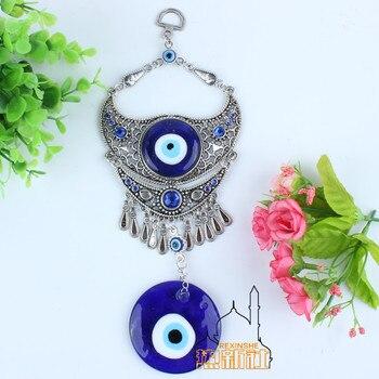 Turkey blue diamond eyes Muslim peace horn evil metal pendant wall Jushi home ornaments