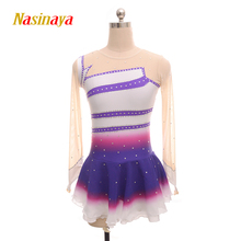 customized clothes ice figure skating dress rhythmic gymnastics purple child girl show skirt performance rhinestone long sleeve стоимость