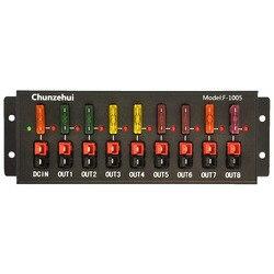 Chunzehui F-1005 conector de 9 puertos 40A tira de fuente del distribuidor del divisor de alimentación, 1 entrada y 8 salidas.