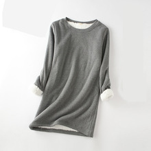 Thicken Warm Velvet T Shirt Winter Women Full Sleeve O-Neck Pure Thermal Underwear Tops Basic T-Shirt Tops Tees Winter Tshirts