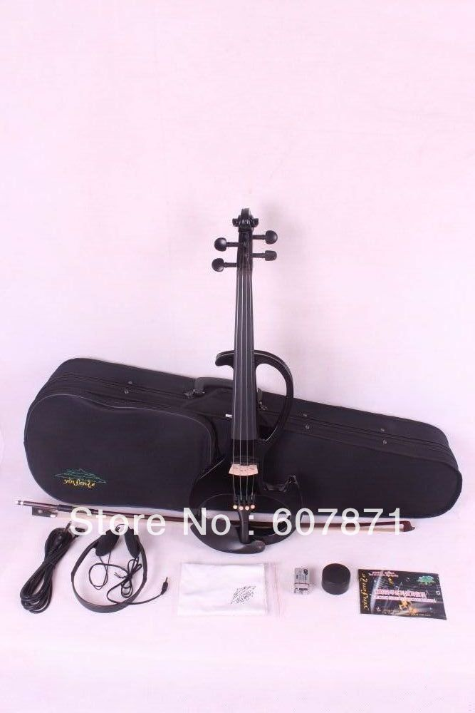 New 4/4 Electric Violin Silent Pickup  black  Color tone #6- 8  4 strings handmade new solid maple wood brown acoustic violin violino 4 4 electric violin case bow included