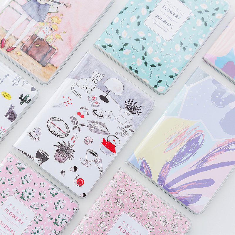 Fromthenon Yearly Monthly Weekly Planner Fresh A6 Kawaii PVC Cover Notebook Diary Pocket Notepad Gift Stationery school supplies fromthenon cat go home series thick notebook kawaii notepad binder dialy memos daily planner organizer stationery school supply