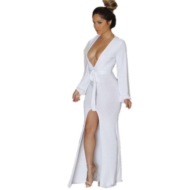 6d0e676c57c9 Women Long Sleeve Maxi Dress Summer Style 2015 Europen Sexy Club Dresses  White Plunge V Neck Front High Slit Maxi Jersey Dress