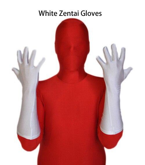 Free Shipping Lycra Spadex Zentai Elbow White Zentai Gloves Costume Halloween Party Superhero Size Custom Made