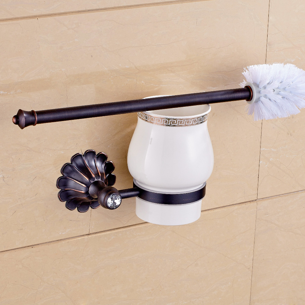 Oil Rubbed Bronze Wall Mount Bathroom Toilet Brushes & Sets+ Cup+ Brush + Holder цены