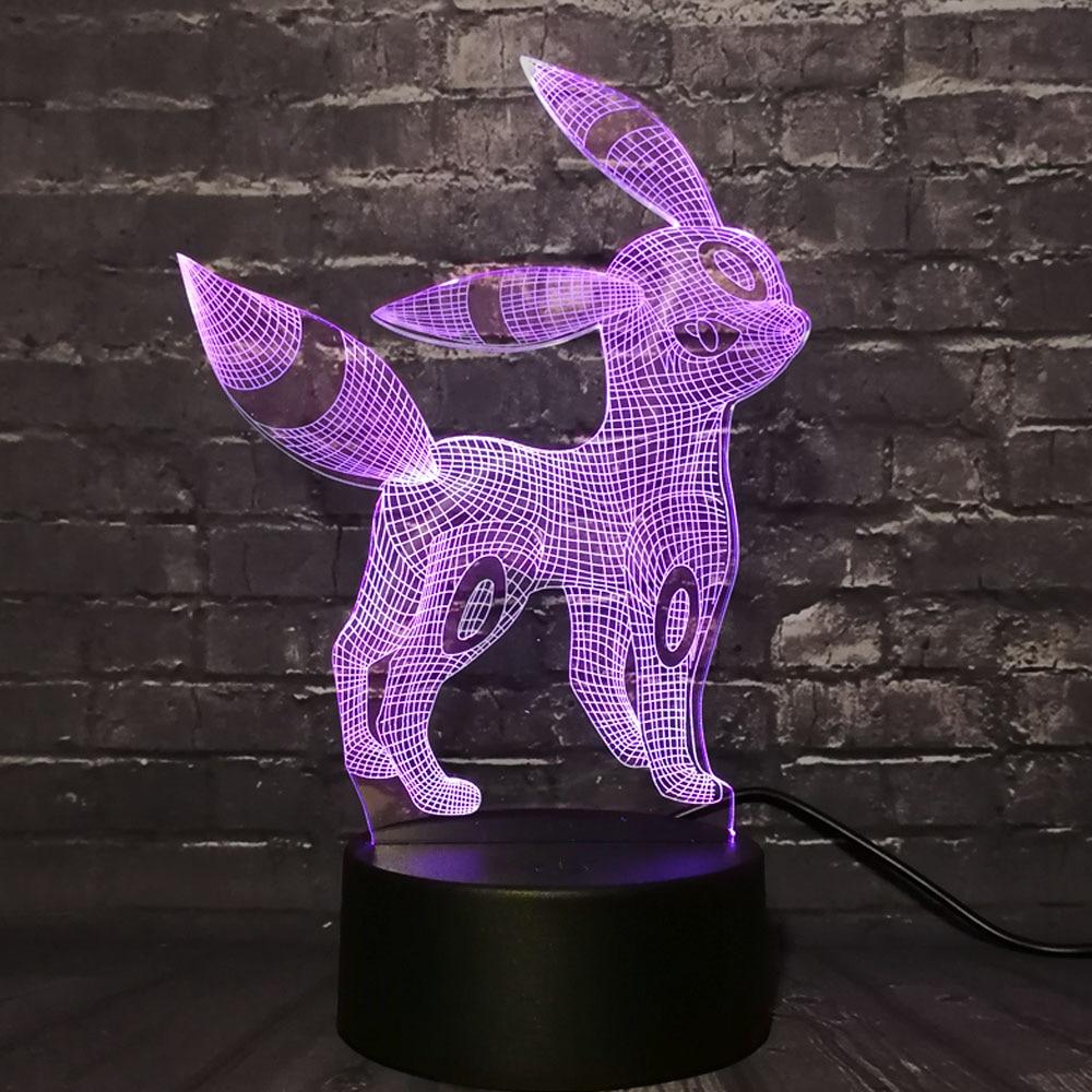 Novelty New 2019 Lamparas Pokemon Go Action 3D RGB Lamp Pikachu Dragon Pokeball Ball Umbreon Bay Gift Night Light LED