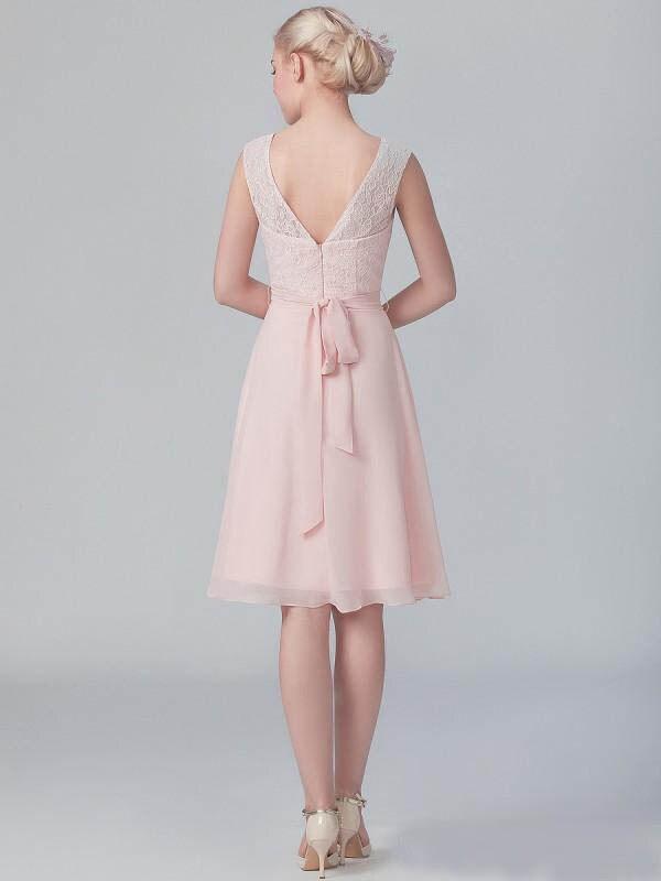 536214b285 Short Vintage 2015 Blush Pink Lace Bridesmaid Dresses Knee Length ...