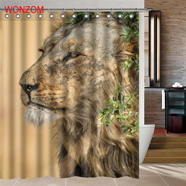 . US  12 31 50  OFF WONZOM Lion Polyester Fabric Shower Curtain Deer Bathroom  Decor Bird Waterproof Animal Cortina De Bano With 12 Hooks Gift 2017 in